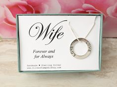 Gift for Wife Sterling silver LOVE necklace by SilverStamped