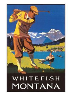 Golfer in Mountains, Whitefish, Montana Poster