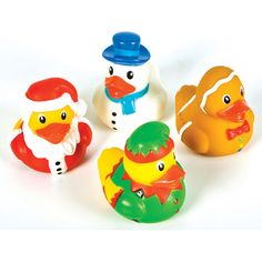 Holiday Rubber Ducks - $4.00 : Ducks Only!, Exclusively Ducks - Santa, Snowman in blue, Gingerbread duck, and an elf duck