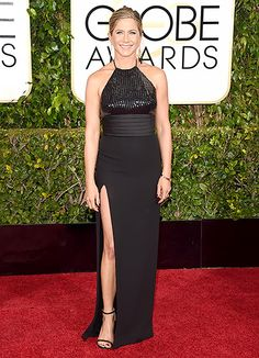 Jennifer Aniston The Best Actress nominee kept to her beloved black in a Saint Laurent halter dress with a sequined bodice.