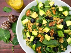 Kale, Quinoa, Blueberry & Avocado Salad via @kalechocolate
