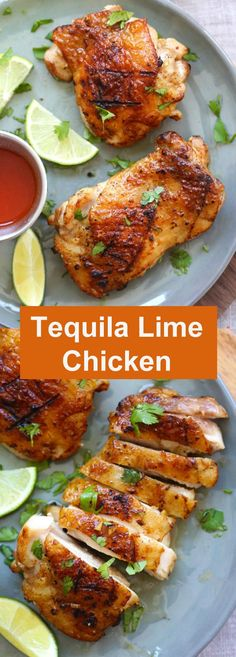 Tequila Lime Chicken - amazing chicken marinated with tequila, lime and garlic. This tequila lime chicken recipe tastes better than restaurant's. Tequila Lime Chicken Recipe, Lime Chicken Recipes, Shrimp Recipes, Easy Delicious Recipes, Yummy Food, Healthy Recipes, Tasty, Vegetarian Recipes, Gourmet