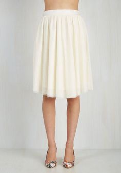 This staple-worthy tulle skirt is your secret weapon to finishing an enviable look with a feminine touch! Part of our ModCloth namesake label, this ivory piece features layers of soft netting that gracefully gather below a silky waistband, offering sweet sophistication to every ensemble you create.