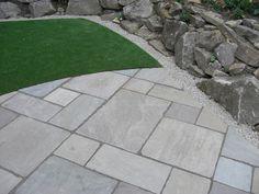 Tumbled Raj Green Indian Stone Patio. Indian sandstone in Raj Green Paving at LSD.co.uk