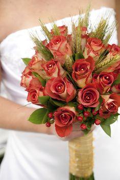 gorgeous bridal bouquet with wheat, floral design by Le Petit ...