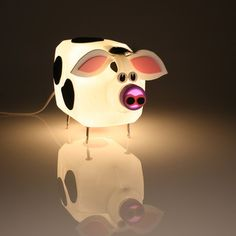 Cow lamp made out of an upcycled detergent bottle. Ah!
