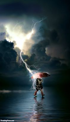 """""""He sends lightning with rain"""" . I'm thinking this guy needs to pay attention! Didn't Mum say """"never use an umbrella during a lightning storm"""" Rainy Day Pictures, Cool Pictures, Cool Photos, Beautiful Pictures, Wild Weather, Thunder And Lightning, Lightning Rod, Photo Portrait, Tornados"""