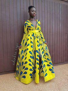Robe africaine Asantewaa / Maxi robe robe jaune /wax Print /