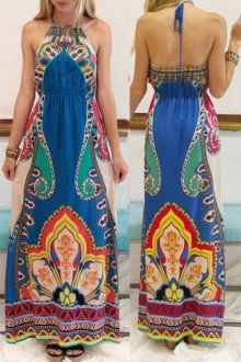 Printed Lace-Up Colorful Backless Maxi Dress