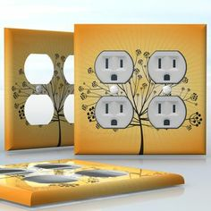 DIY Do It Yourself Home Decor - Easy to apply wall plate wraps | Berry Tree  Tree silhouette on yellow background  wallplate skin sticker for 2 Gang Wall Socket Duplex Receptacle | On SALE now only $4.95
