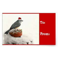 Adorable Tufted Titmouse Holiday Gift Tags Rectangle Sticker