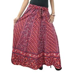 Mogulinterior Womans Long Skirt Cotton Ethnic Floral Printed Maroon Peasant Hippie Maxi Skirts