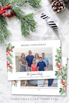 This Holly Berry Christmas card template highlights your favorite family photo of the year! Everybody loves getting Christmas cards in the mail so use this template to quickly create this year's photo card! The editable template is instantly available after purchase! Easy to edit in your web browser, download and print! No software needed! Demo Now! #ChristmasCards #ChristmasCardIdeas #ChristmasTemplate #ChristmasCard #HolidayPhotoCard Christmas Card Template, Printable Christmas Cards, Merry Christmas Card, Christmas Photo Cards, Holiday Cards, Text Color, Web Browser, Family Photo, Card Templates