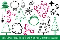 Check out Christmas Doodles Clipart & Brushes by Colors on Paper on Creative Market