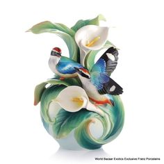 FZ03123 Franz Porcelain Happy encounter Blue winged Pitta vase New Summer 2013