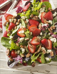 Strawberry Fields Salad with Gorgonzola and Sweet and Spicy Rosemary Pecans - a tantalizing combination that celebrates the season's freshest produce.
