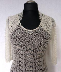 Hand knitted festive/ wedding dress, fine  natural white wool, Haapsalu shawl patterns. CUSTOM MADE. $1,499.00, via Etsy.