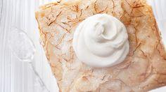 Lemon Crunch Cake Recipe Desserts, Afternoon Tea with unsalted butter, cake flour, baking powder, coarse salt, whole milk, pure vanilla extract, granulated sugar, lemon, large egg whites, sanding sugar, sweetened whipped cream