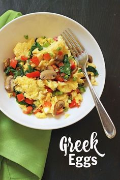 Greek Eggs   Good Cheap Eats - Brighten up your morning with tangy Greek Eggs chock full of vegetables and Mediterranean flavor. You'll never be bored at breakfast again!
