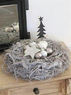 a nest with shiny bulbs and stars
