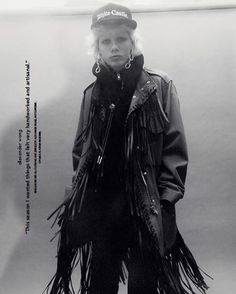 @id_magazine photographs #Spring2016 Parka with Patch Pockets & Fringe Detail, Distressed Crop Jean with Net, Oversized Hoodie & Four Link Earrings.
