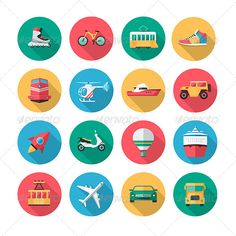 16 Vector Transport Icons in Flat Style - Objects Icons