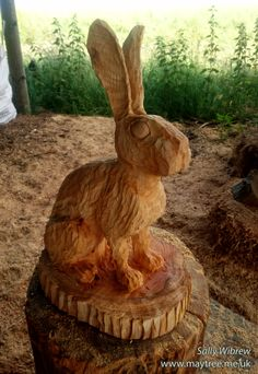 A small hare, ready to be burned and oiled. #woodworking #sculpture #wildlifeart #garden #chainsawcarving # hare