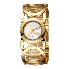 [$11.98] JIANGYUYAN 3808 Fashionable and Elegant Resinstone Scale Quartz Wrist Watch with Hollowed-out Alloy Band and Jewelry Bracelet Clasp for Women(Gold Case + White Window)
