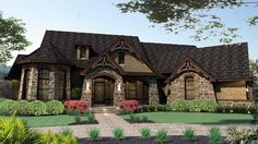#Tuscan #HousePlan 65888 has 2595 square feet of living space with 3 bedrooms and 2.5 bathrooms. In addition to the large footprint, there is a 2595 sq. ft. basement and 750 sq. ft. of bonus space upstairs. You will not run out of storage and activity space. The main floor also includes kitchen with butler pantry, formal dining, breakfast nook, family room, game room, study, master suite and two smaller bedrooms.