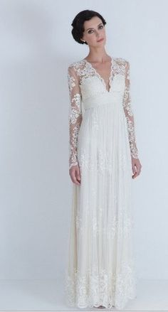 Vintage Lace Wedding Dress Bridal Gown Deep front back V Neck Open Back Long Lace sleeves A LINE Dress. $476.00, via Etsy.