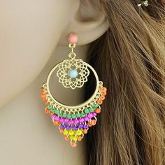 Pair of Beads Floral Hollow Out Earrings