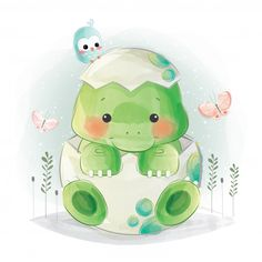 Find Cute Baby Dino Egg stock images in HD and millions of other royalty-free stock photos, illustrations and vectors in the Shutterstock collection. Die Dinos Baby, Baby Dino, Baby Animal Drawings, Cute Drawings, Baby Motiv, Baby Animals, Cute Animals, Cute Animal Illustration, Image Clipart