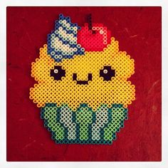 Kawaii cupcake perler beads by glamourfae