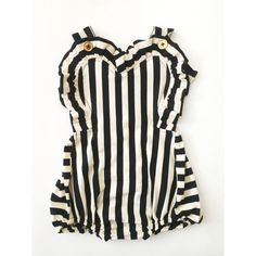 Image of the betty black and white stripe sunsuit