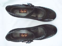 """Peter Fox™ """"Jenna"""" Black calf leather and suede, size 9 1/2 #PeterFox #MaryJanes ~ Sadly, LOST!"""