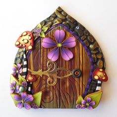 A private entrance for your fairies... Wild Mushrooms Fairy Door Pixie Portal Toadstool by Claybykim
