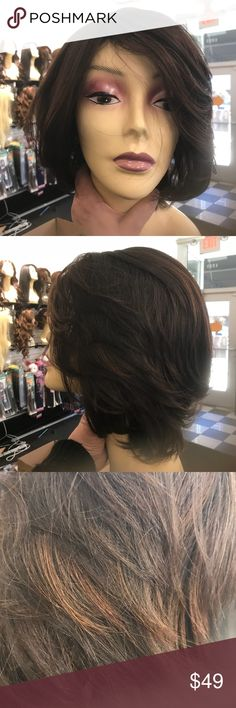Wig bob style short long bangs brand New Wig Heat resistant adjustable cap wig I ship asap check out my closet styling your new wig just like human hair Accessories Hair Accessories