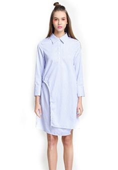 EileenElisa Long Sleeves Shirt Dresses Striped Long Dress >>> You can get additional details at the image link.