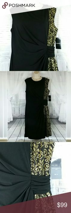 Holiday Formal Party Dress NWT Brand New with Tag perfect Black and gold holiday party dress for your office Christmas party, holiday photos, or any elegant event you desire. Retail Price $189 comes in women's sizes 10 and 16  Reasonable offers welcomed Dresses Midi