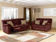 Motivation Burgundy Power Reclining Living Room Set