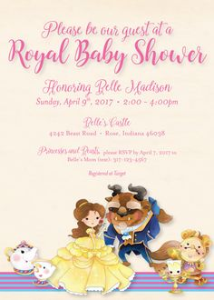 Elegant Beauty And The Beast Baby Shower Invitation   Beauty And The Beast Shower  Invitation   Cute Beauty And The Beast   Printed And Shipped