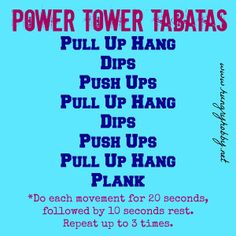 Before I got injured I thought that the Power Tower was only for dudes. I mean most women can't do pull ups or any of the body resistance moves that they are generally used for. Power Tower Workout, Pull Up Workout, Calisthenics Body, Dip Bar, At Home Workouts, Workout Routines, Sport Motivation, Tabata, Weight Loss