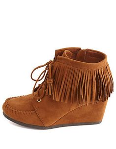 Lace-Up Fringe Moccasin Wedge Booties: Charlotte Russe. I already have these, and I love them so much.