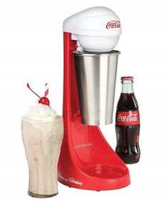 Nostalgia Two-Speed Electric Coca-Cola Limited Edition Milkshake Maker and Drink Mixer, Includes Stainless Steel Mixing Cup & Rod, Red Milk Shakes, Milkshake Machine, Milkshake Maker, Slush Machine, Cool Kitchen Gadgets, Small Kitchen Appliances, Cool Kitchens, Cool Gadgets To Buy, Tiny House Appliances