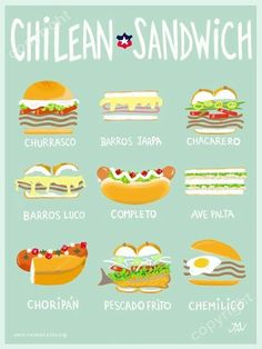 tbh this is one of reasons why i need to visit chile lmao Chilean Recipes, Chilean Food, Easter Island, American Food, Food Illustrations, Food Truck, South America, Cooking, Spanish Vocabulary