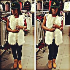 h & m shopping trip!  faux fur off-white vest, timberland boots, oakland a's fitted hat, gold men's watch...