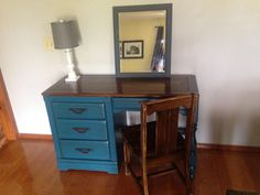 "For Sale: Turquoise desk and chair - Solid wood gorgeous turquoise desk with chair. Measurements are 48""W x 18""D x 30 1/2""H."