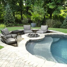 Luxury Sun Shelf Pool Design - Since a sun shelf is basically just a raised part of yourpool floor, there are a good deal of design alternatives available. Including a sun shelf doe. by Joey Small Backyard Pools, Backyard Patio Designs, Swimming Pools Backyard, Backyard Ideas, Patio Ideas, Small Pools, Fire Pit Next To Pool, Fire Pit Backyard, Fire Pit Seating
