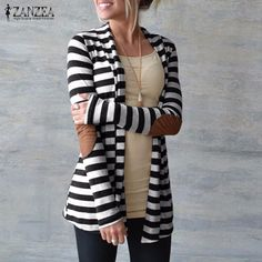 Cheap sweater sweater, Buy Quality sweater angora directly from China sweater sets plus size Suppliers: New Fashion 2017 Autumn Outerwear Women Long Sleeve Striped Printed Cardigan Casual Elbow Patchwork Knitted Sweater Plus Size Striped Cardigan, Long Cardigan, Cardigan Outfits, Sweater Jacket, Cardigan Fashion, Loose Sweater, Cotton Cardigan, Striped Sweaters, Knit Cardigan