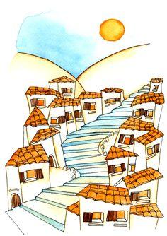 Così ho conosciuto don Chisciotte 1- I primi gradini che salivano fra le case, su verso la sommità della collina...